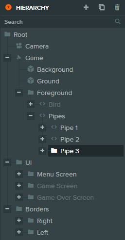 The Hierarchy view in the PlayCanvas editor